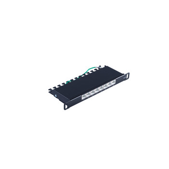 Slim Patchpanel Cat.6A, 8 Port 0,5HE, 10