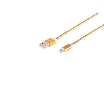 8-Pin, Ladekabel, flach, gold, 0,3m