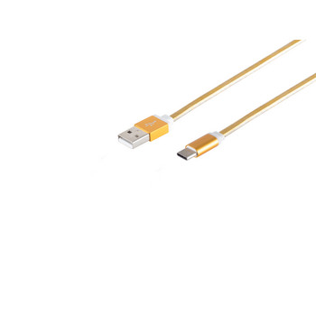 USB C, Ladekabel, flach, gold, 0,3m